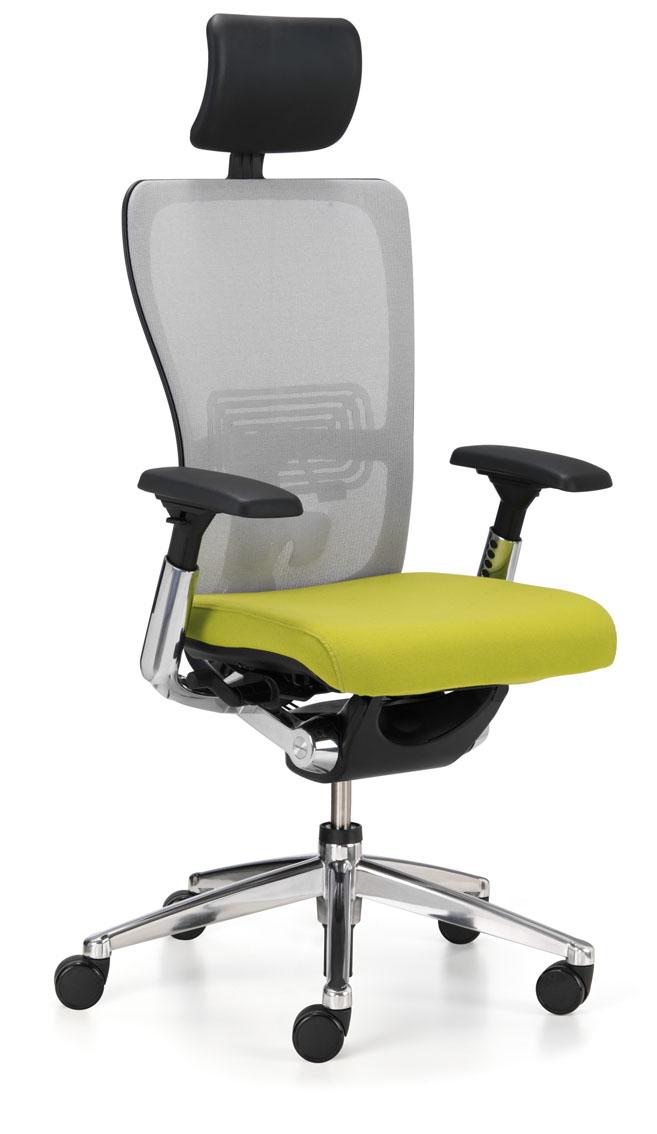 Siège de travail ergonomique avec assise rembourrée verte et dossier résille Zody par Haworth