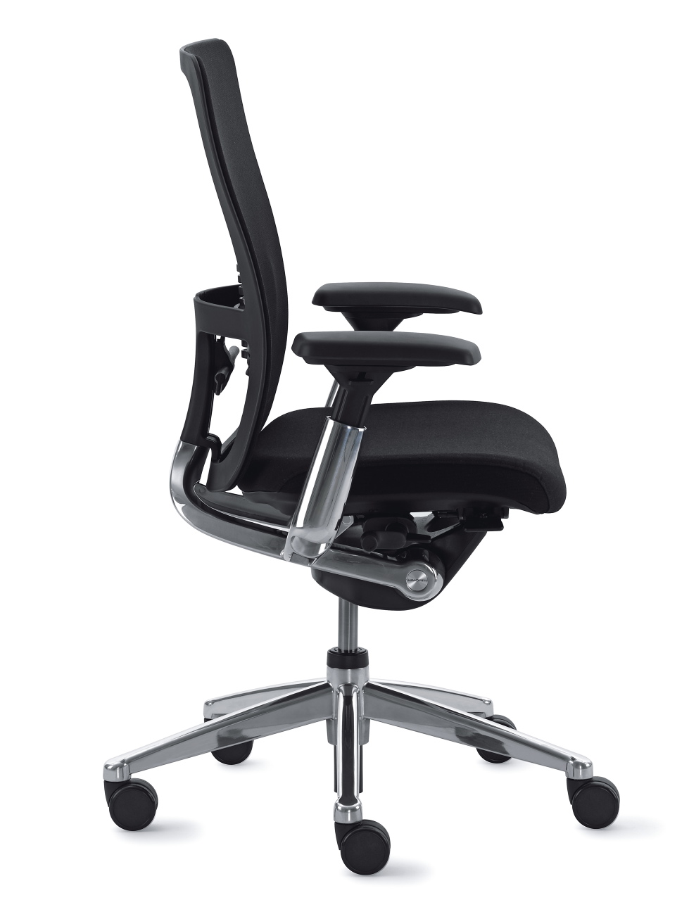 Siège de travail ergonomique avec assise rembourrée noire Zody par Haworth (profil)