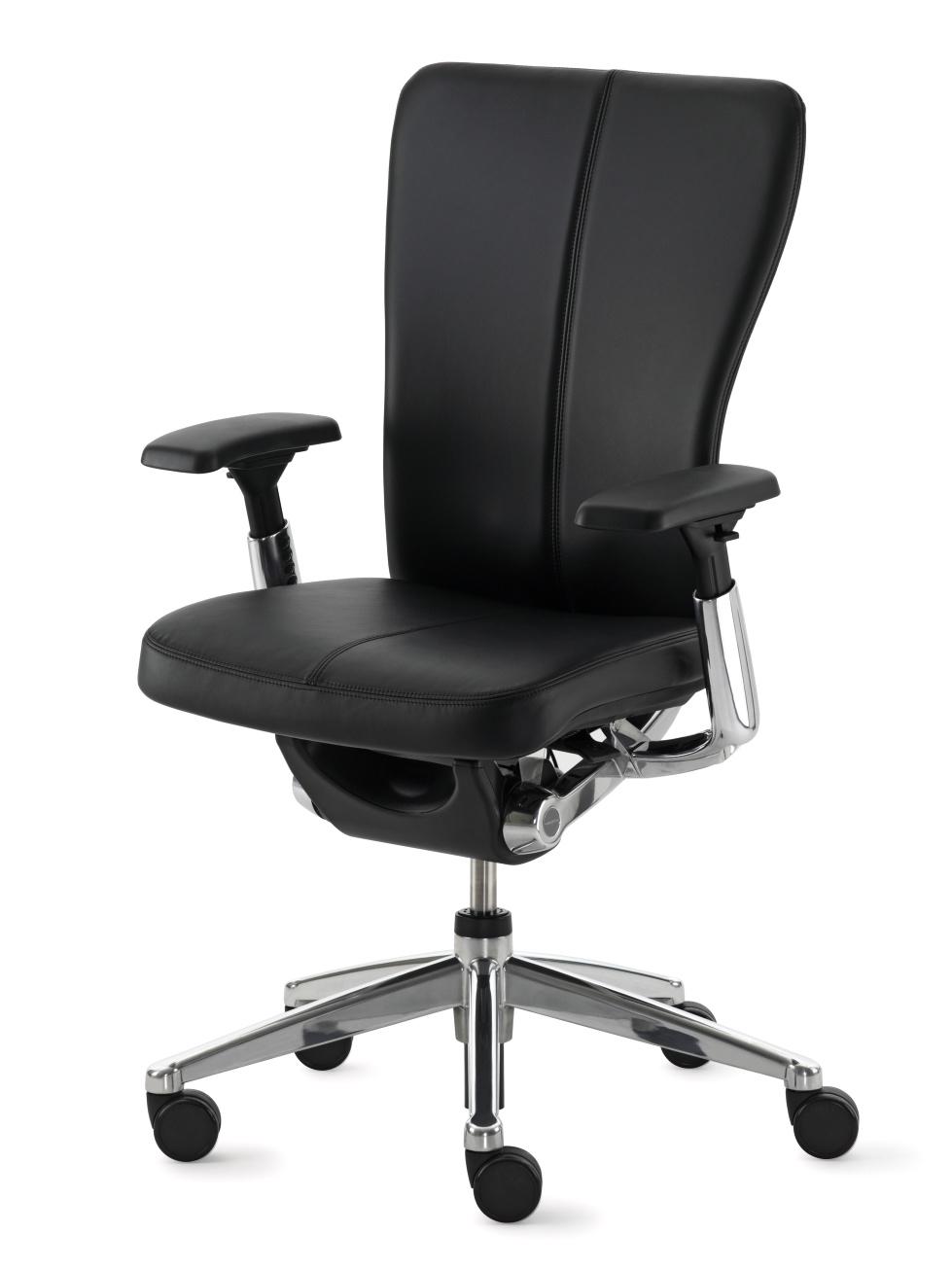 Siège de travail ergonomique avec assise rembourrée noire Zody par Haworth (face)