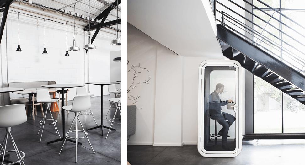 Aménagement espace cafétéria, cabine acoustique FRAMERY, espace de réunion visio conférence - Réalisation L'ATELIER - Saint Ouen
