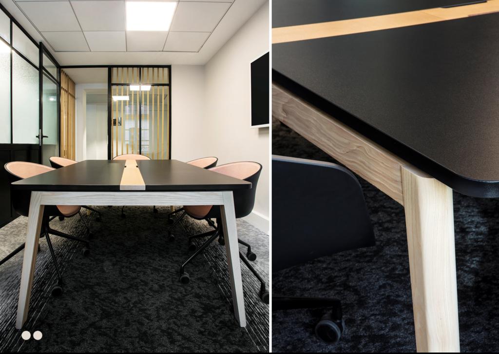 Aménagement espaces de réunion, table de réunion sur-mesure - JUNE PARTNERS Paris 15