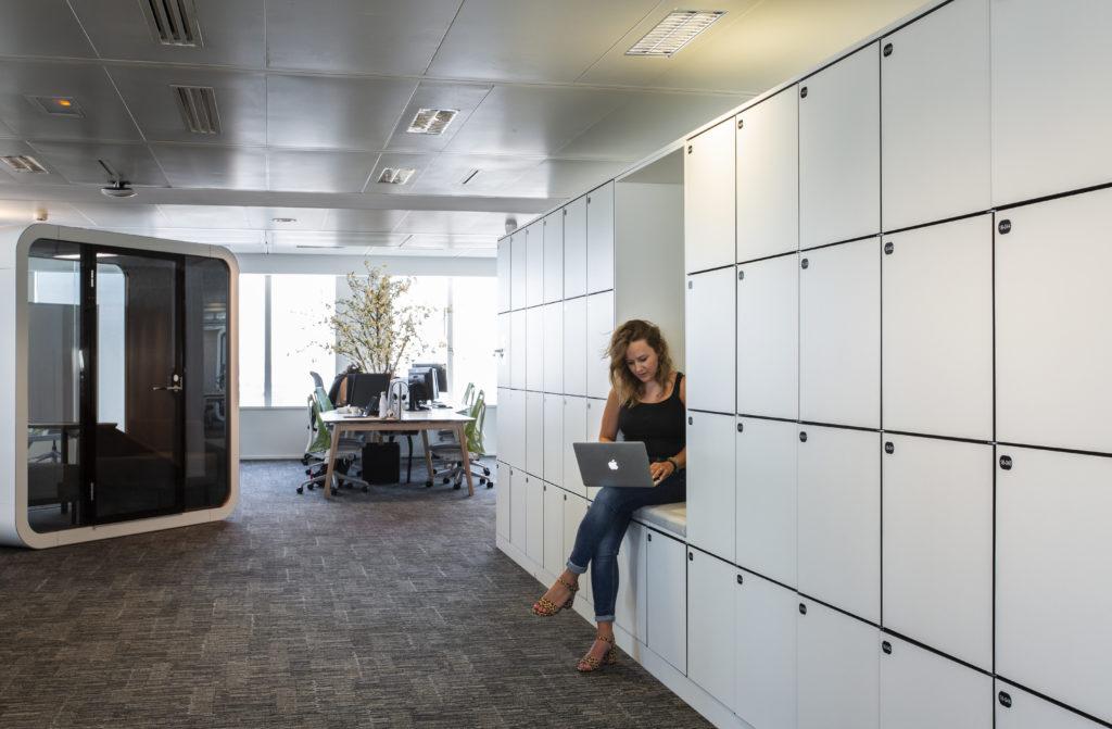 Aménagement de casiers pour flex office - Réalisation SAP - Levallois-Perret