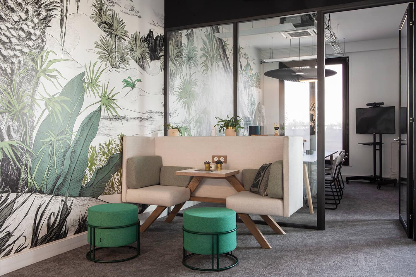 Aménagement espace d'accueil fresque Papermint - Neoxia Paris 11