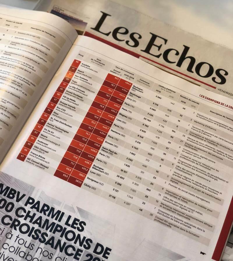 Les Echos classement entreprises en forte croissance